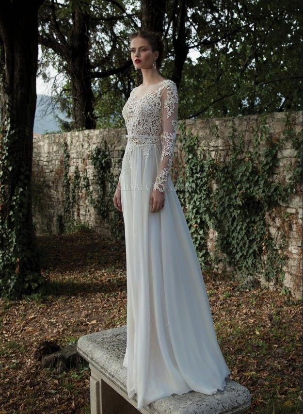 Neue weiße Elfenbein-Spitze- Hochzeits-Kleider Sexy Sheer Rückenfreies Langarm | eBay