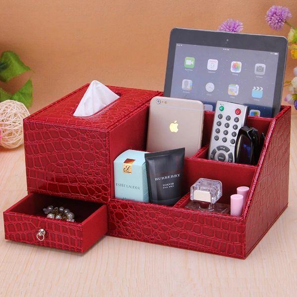 Tissue Box Table Continental Creative multifonction en cuir basse en bois de bureau télécommande bac papier boîte de rangement serviette de pompage