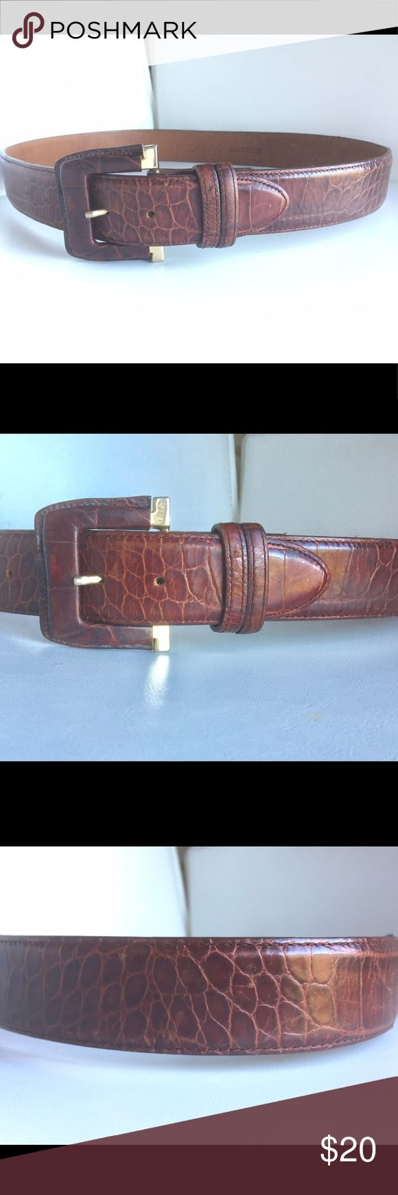 """JOAN & DAVID BROWN CALFSKIN L BELT MOC CROC 1.5""""W This good condition Joan & David size L belt measures 32.5"""" in the smallest position, 34.5"""" in the center position and 36.5"""" in the largest.  It's 1.5"""" wide and the buckle is 2.5"""" wide. Joan & David Accessories Belts"""