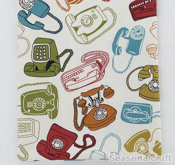 Linen Cotton Fabric Retro Vintage Phone by seasonalsupplies