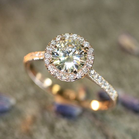 70 best engagement images on pinterest wedding bands engagement 14k rose gold halo diamond moissanite engagement ring in half eternity diamond wedding band 7mm round malvernweather Gallery