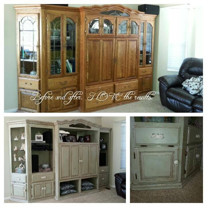 oak entertainment center refinished 2015 Chalk paint love it!