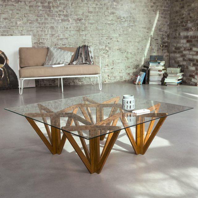 Table basse en bois de teck 100x100 Mona