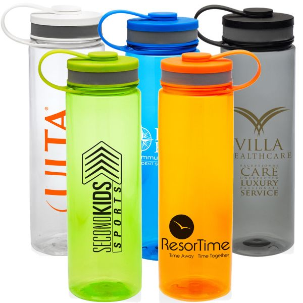 "26 oz Tritan plastic transparent water bottle with screw on leashed lid. BPA free. Available in Smoke, lime, blue, orange and clear. One color, one or two location imprint included. 9"" tall x 2.25""w . 1 spot color maximum. 6 day production."