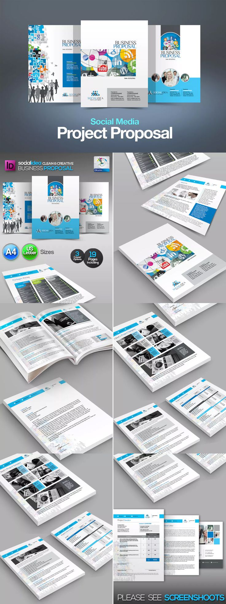 Social Media Business Project Proposal Template InDesign