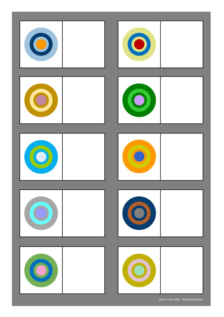 Board for the color matching game. Find the belonging tiles on Autismespektrum on Pinterest. By Autismespektrum