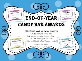 Grade School Cool: End of Year Candy Bar Awards Customizable