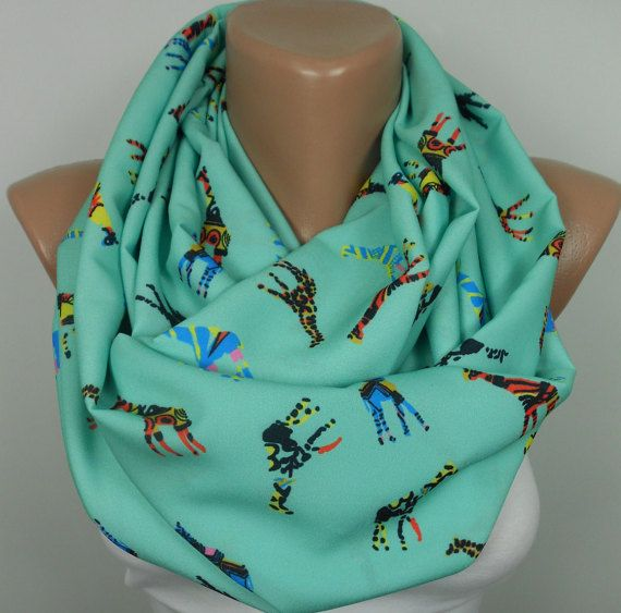 Giraffe Scarf Animal Infinity Scarf Mint Scarf by ScarfClub on Etsy