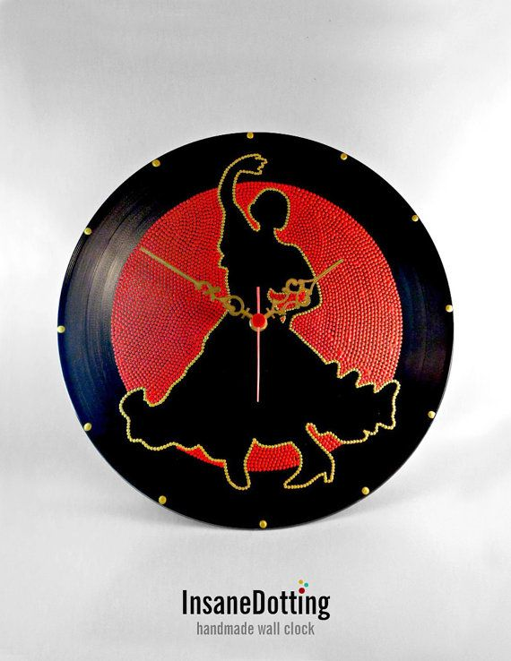 Flamenco Dancer Vinyl Clock Hand Painted Red Gold by InsaneDotting