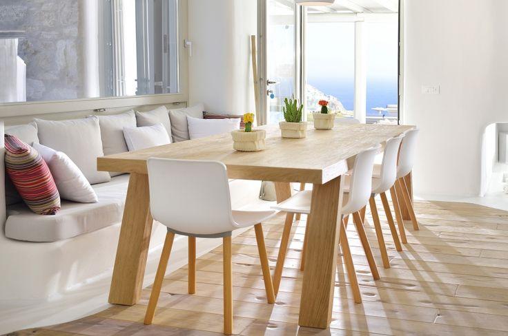 custom made dining table, solid wood oak, natural living, Greek Design, interior design