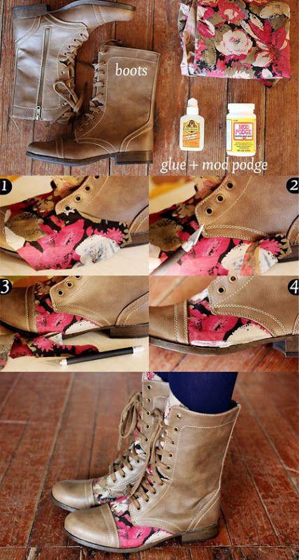 Customização de bota com tecido estampado