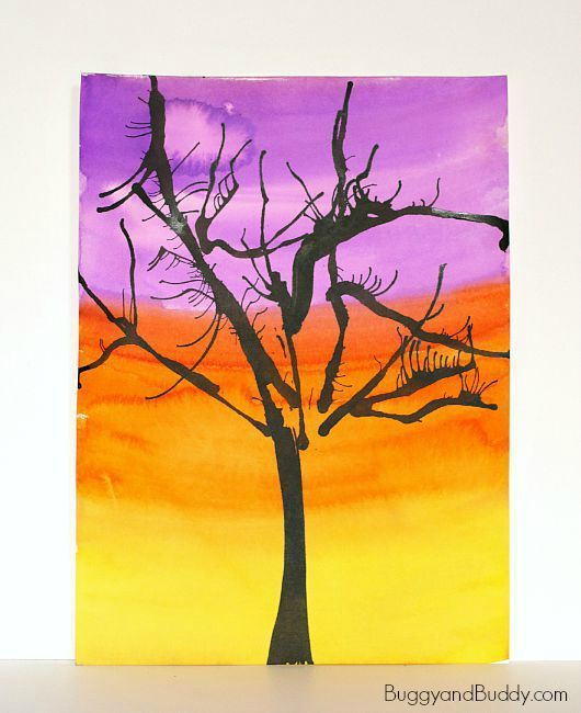 Here's a super fun and easy art project for kids to make this Halloween- straw blown spooky trees! Children will love creating these unique looking trees by blowing through a straw.