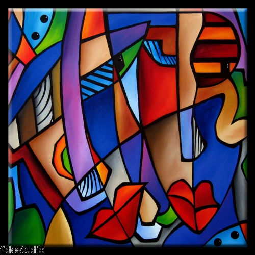Seeing Sounds - Original Large Abstract Modern Art CUBIST Painting by Fidostudio