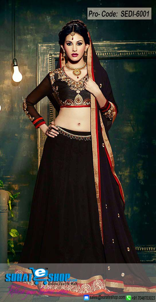 Make The Heads Flip After You Costume Up In This Wonderful Black Faux Georgette Salwar Kameez. The Ethnic Butta Work, Lace, Patch Work, Resham Work On The Dress Adds A Sign Of Magnificence Statement With A Look. Paired With A Matching Bottom Comes With A Matching Dupatta  Visit: http://surateshop.com/product-details.php?cid=2_27_43&pid=8310&mid=0
