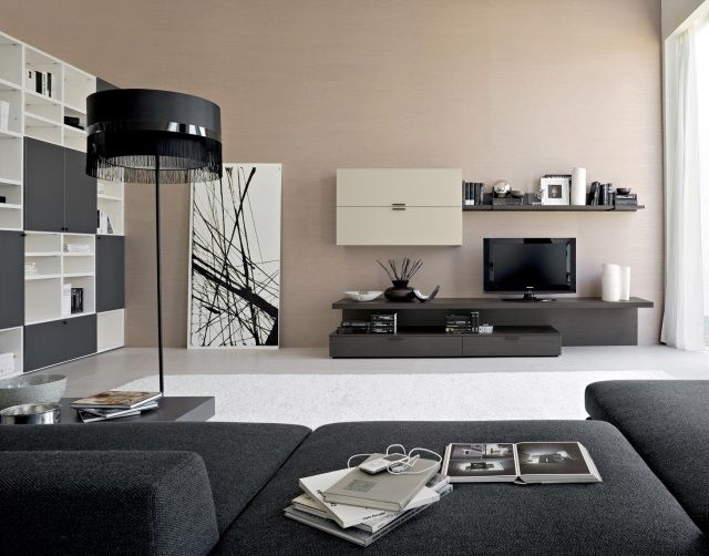 Spectacular Ideas For A Contemporary Living Room : Minimalist Furniture For  Modern Living Room Day From Circulo Muebles 2 Dark Grey Tile Black Fur Rug  ...