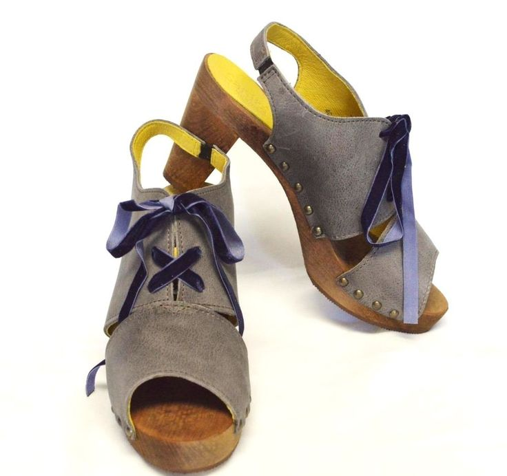 NEW Sanita Womens 37 6.5 7 Spica Slingback Sandals Gray Nubuck Leather  Ribbons