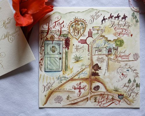Danae Calligraphy Southwest Custom Wedding Map of Santa Fe