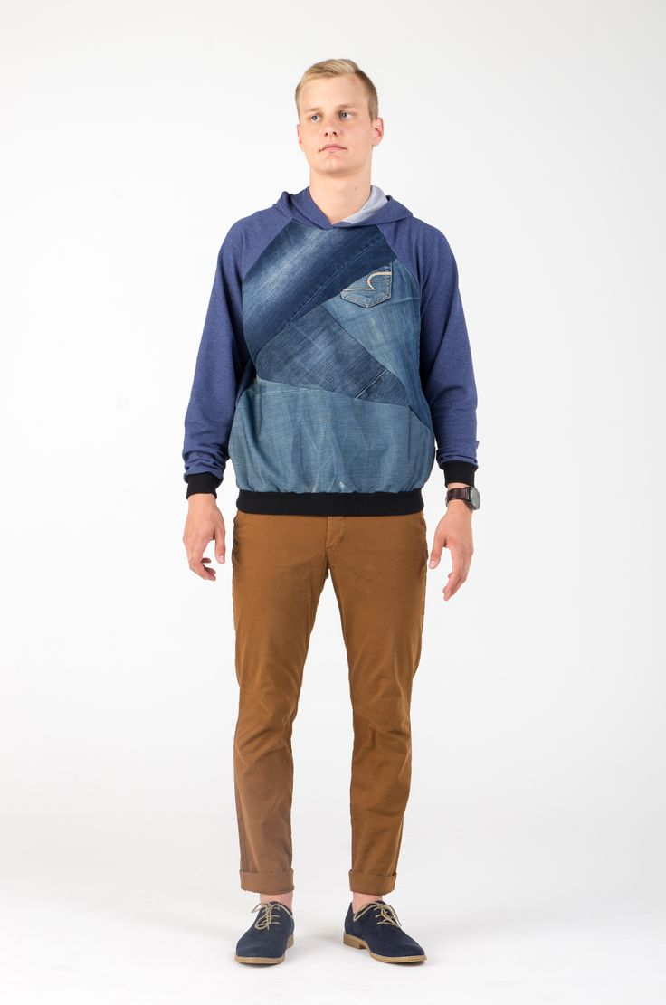 Ethical, conscious, upcycled, recycled, fashion, design, denim, old jeans, casual, AW, trend, men's, man, male, hoodie, blue, DIY, sewing, pattern, https://www.etsy.com/shop/SHAROLTA?ref=hdr_shop_menu
