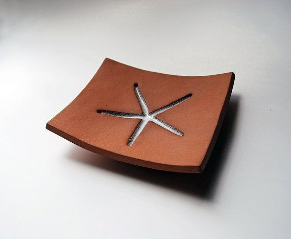 Starfish Brown & White Ceramic Soap Dish by LaurenSumnerPottery,