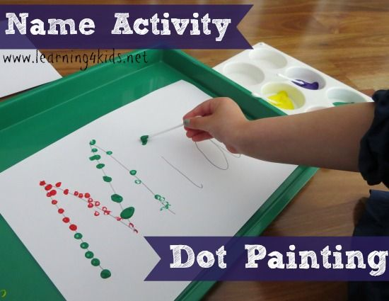 Great activity for fine motor skills and letter knowledge. Name Activities for Kids - Dot Painting - learning4kids