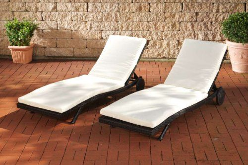 CLP Set of 2 High Quality All-Weather Rattan Sun Lounger ELBA, CHOICE OF COLOURS---489---