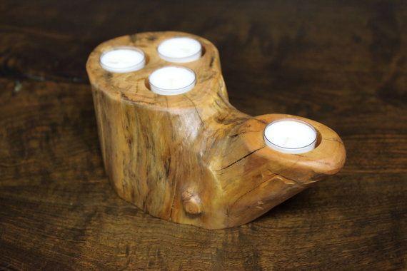 Dogwood Log Candle Holder Centerpiece  by MissouriNatureArt