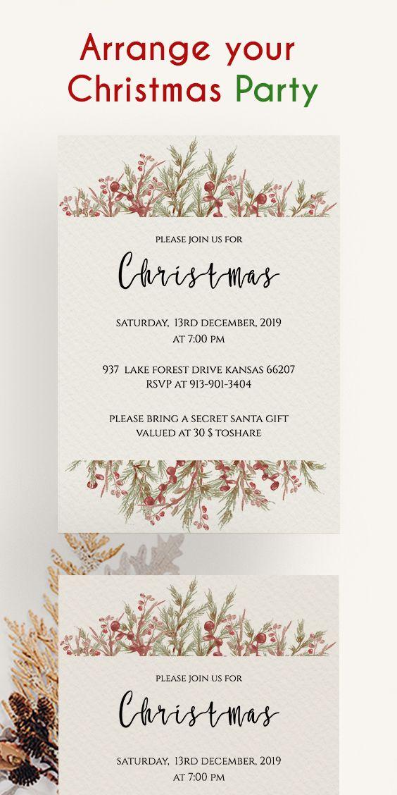 Christmas invitation card, Downloadable Christmas Card, Christmas