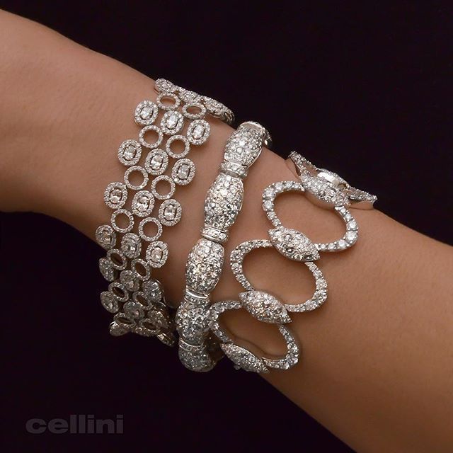 The Beauty of a NYC White Out! ❄️  Winter Wonderland at Cellini Jewelers in NYC. Gorgeous Diamond bracelets.