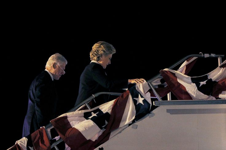 U.S. Democratic presidential nominee Hillary Clinton and her husband, former U.S. President Bill Clinton, board her campaign plane after the presidential town hall debate against U.S. Republican presidential nominee Donald Trump in St. Louis, Missouri, U.S. October 9, 2016.   REUTERS/Brian Snyder  via @AOL_Lifestyle Read more: http://www.aol.com/article/news/2016/10/11/trump-takes-aim-at-clintons-health-in-tv-ad-she-doesnt-have/21579619/?a_dgi=aolshare_pinterest#fullscreen