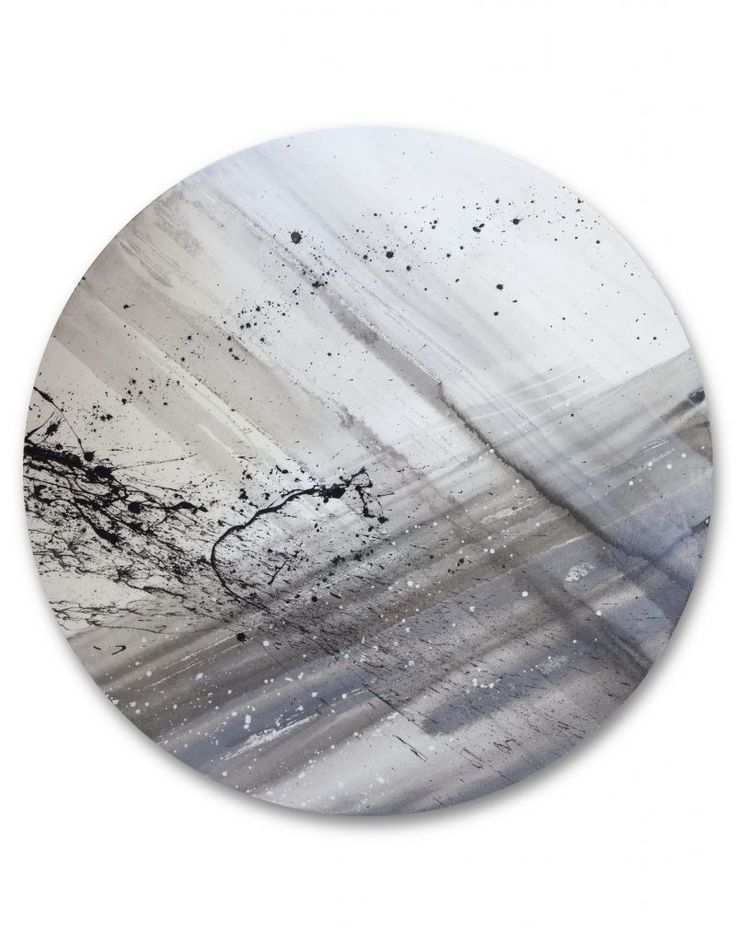 Slate grey tones, 98cm diameter Circular Abstract Painting, part of our selection of original circular canvases for contemporary interior design solutions, more available on our website section - Circular Artwork.