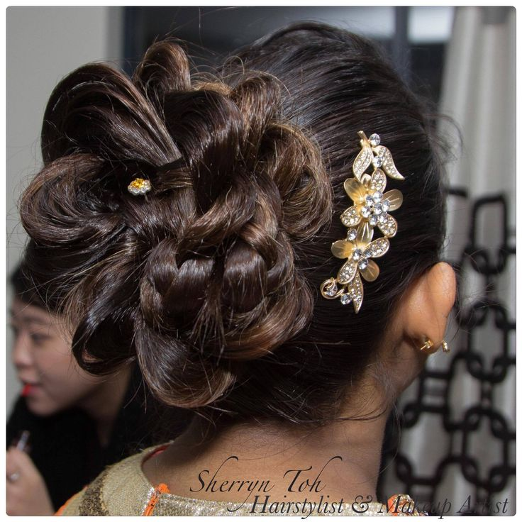 Indian hair, flower hairstyle
