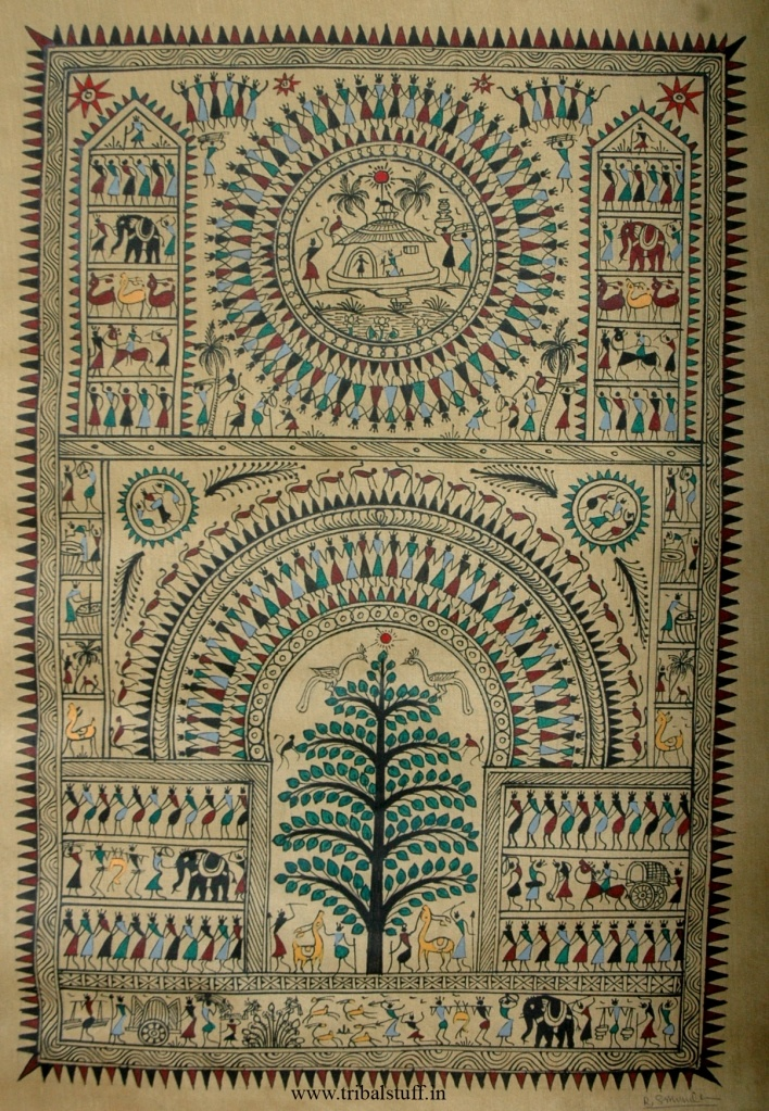 """The Saura Tribe is one of the oldest documented tribes in India, from  Odissa. Like the Warli they traditionally paint wall murals, But they use """"a fish-net approach"""" - of painting from the border inwards. Also called ikons (or ekons) they hold religious significance for the Sauras."""