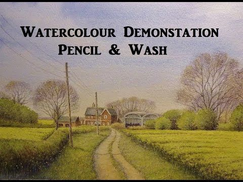 Pencil and Wash, Watercolour Landscape Painting Demo. - YouTube