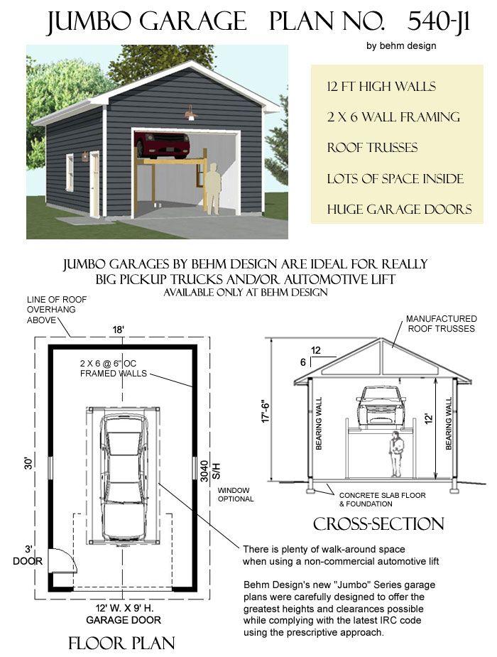 540 J1 18 X 30 Behm Design Garage Plan Garage Plans Garage Shop Plans