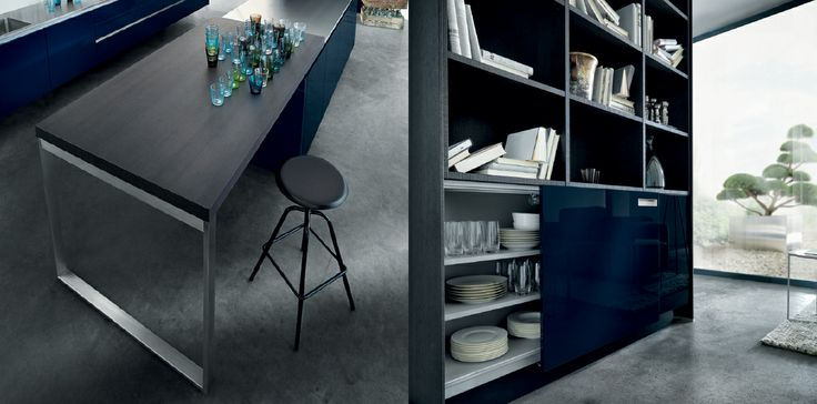 Dinning / Living space. Trend for 2014: bringing kitchen units through to living space. Next125 - NX 501 Indigo blue high gloss