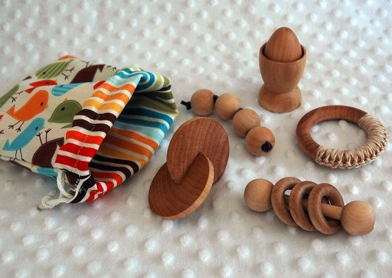 Montessori Baby Rattle Natural Wooden Infant by QualityMontessori, $6.00