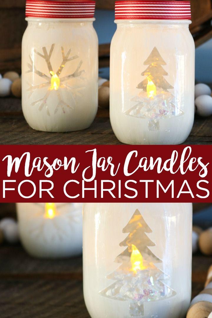Christmas Mason Jar Candles With A Cricut Machine Holiday Mason Jar Mason Jar Christmas Crafts Candle Jars Crafts