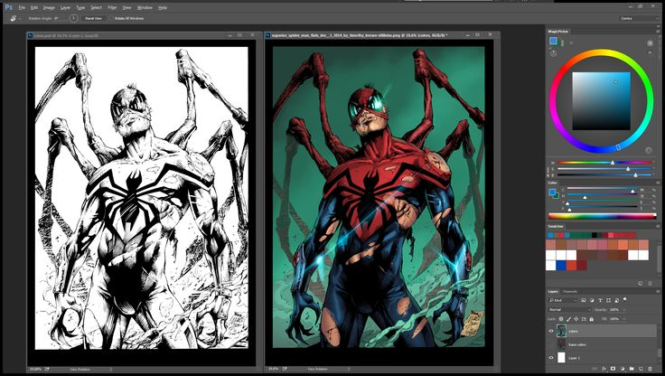 Side by Side of the Superior SpiderMan that i colored . Dont forget to LIKE my page on facebook (https://goo.gl/Y7Dl4k ) so you can see the hi res version of the final image ill be posting later ;)  #comics #Marvelcomics #spiderman #superiorspiderman #makecomics  If you like my colors and you need someone to color for you, feel free to drop me a message   Pencils by Marcio Abreu  Inks by Devgear Flats by Timothy Brown Colors by Nimesh Morarji (me)