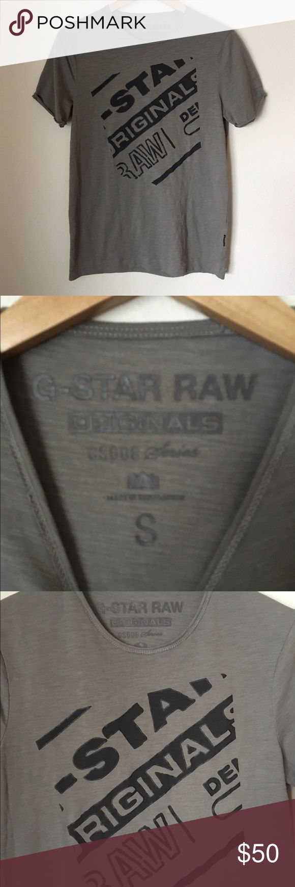 "G Star Raw T-Shirt Size Small Unisex? G Star Raw T-shirt, size small.  From the GS008 Series.  Raw sleeves, stitched in the center.  G Star Raw stitched on left sleeve as pictured, G-Star logo tag on left side hem near bottom of the shirt.  I honestly do not know if this is men's, women's, or unisex.  The measurements are as follows.  Chest-19.5"" Length-28"" G Star Raw Tops Tees - Short Sleeve"