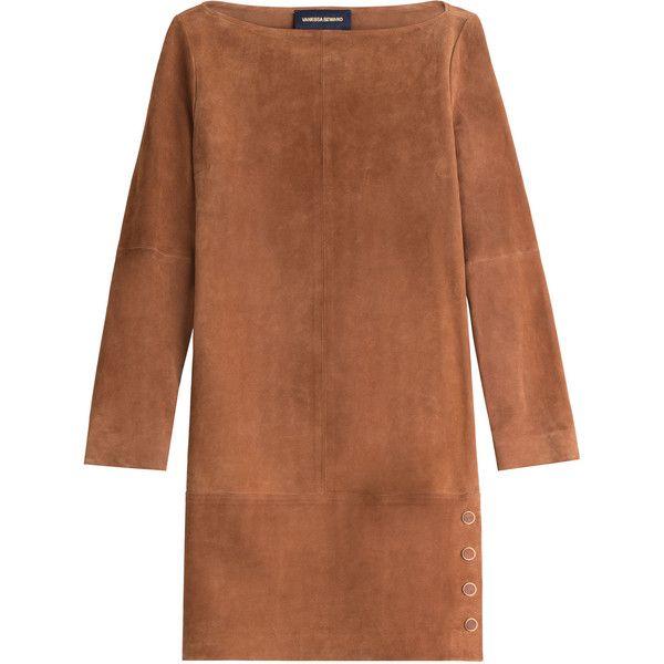 Vanessa Seward Suede Dress found on Polyvore featuring dresses, vestidos, платья, robes, brown, vanessa seward, brown suede dress, suede dress and brown dress