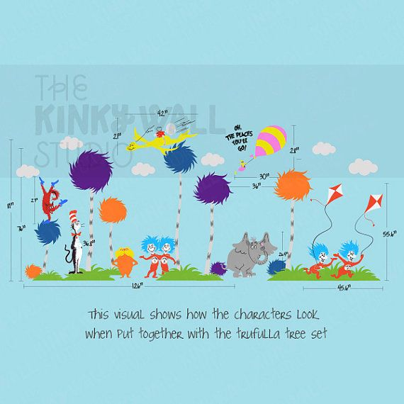 Children wall decals wall sticker lorax truffula by for Dr seuss wall mural decals
