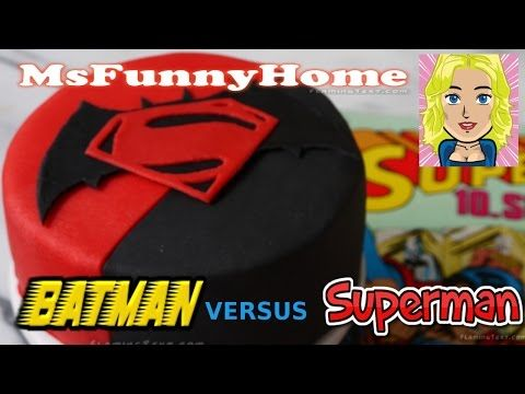 Batman vs superman cake torten dekorieren mit fondant for Youtube kuchen