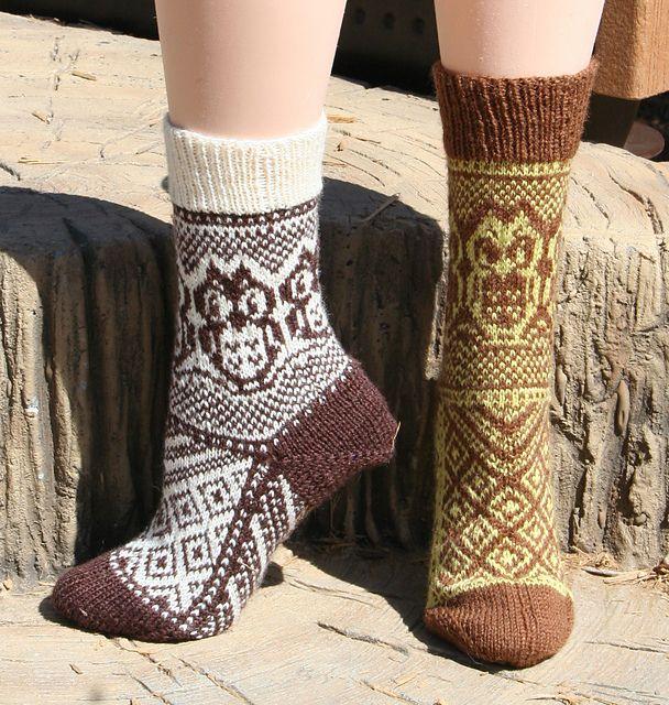 Ravelry: What a Hoot! Owl Socks pattern by Alison Ziegler