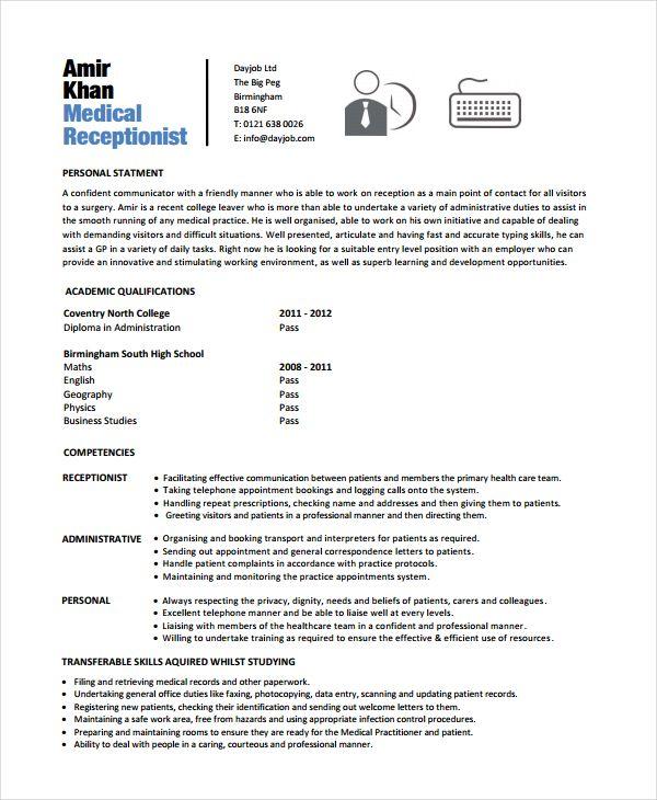 18+ Free Receptionist Resume Templates Printable Word  PDF