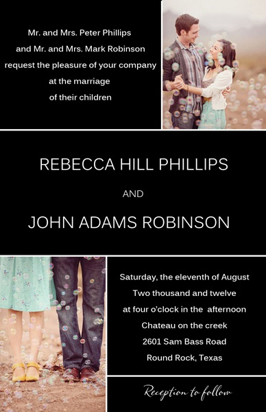 Photo wedding invitation by My Invitations.orgInvitations Org, Black Photos, Elegant Black, Black And White, Invitations Cards, Gorgeous Black, Photos Wedding Invitations
