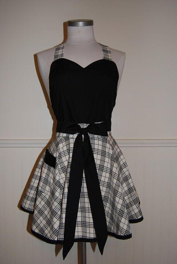 Black and Cream Plaid Full Circle Skirt by CRACKERJACKCOUNTY
