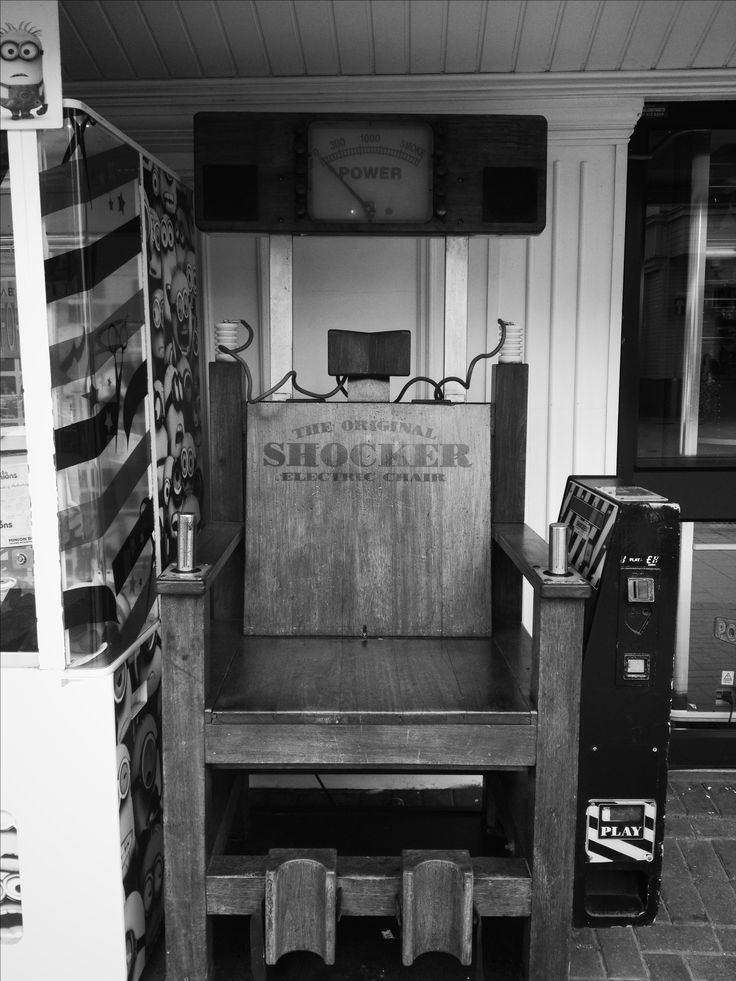 'The Original SHOCKER Electric Chair' found in Clacton-on-sea, Essex. Odd indeed.
