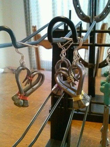Horse shoe nail heart earrings
