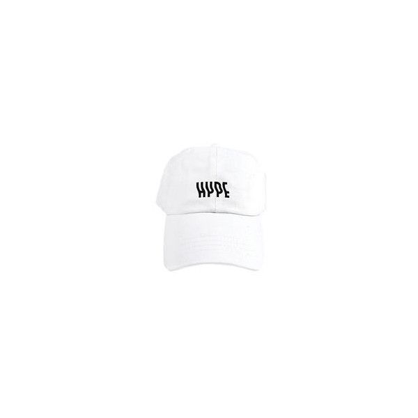 Hype Dad Hat in White ❤ liked on Polyvore featuring accessories, hats, cotton hat and white hat