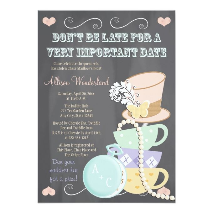 The 1800 best butterfly wedding invitations images on pinterest mad hatter bridal shower invitations filmwisefo